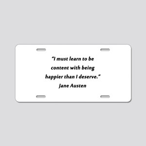 Austen - Learn to Be Content Aluminum License Plat