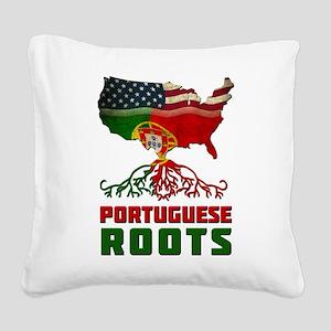 American Portuguese Roots Square Canvas Pillow