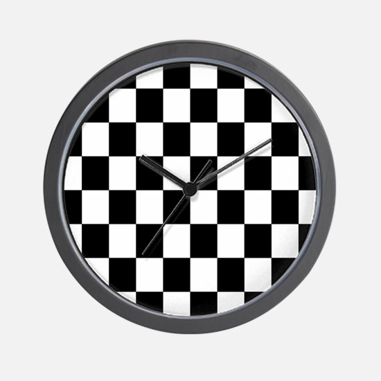 Classic Black Checkered Flag Wall Clock