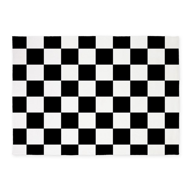 Black And White Checkerboard Rug: Black And White Checkerboard 5'x7'Area Rug By