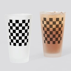 Black and White Checkerboard Drinking Glass