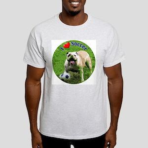 I Love Soccer Bulldog Ash Grey T-Shirt