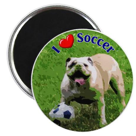 I Love Soccer Bulldog Magnet