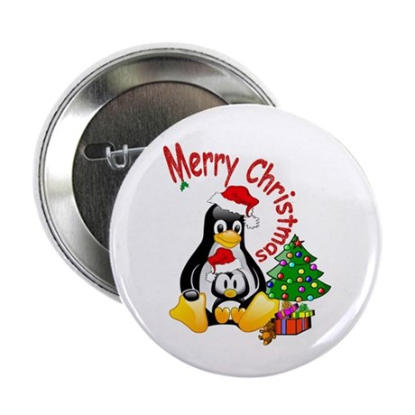 "Merry Christmas Penguins 2.25"" Button (10 pack)"