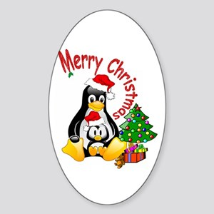 Merry Christmas Penguins Oval Sticker