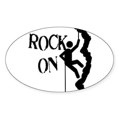 Rock On Oval Sticker