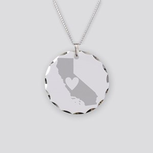 Heart California Necklace Circle Charm