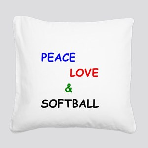 Peace Love and Softball Square Canvas Pillow