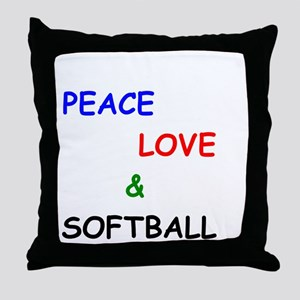 Peace Love and Softball Throw Pillow