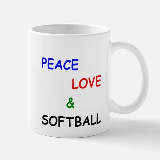 Peace Love and Softball Mug