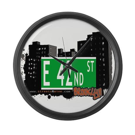 E 42nd street, BROOKLYN, NYC Large Wall Clock