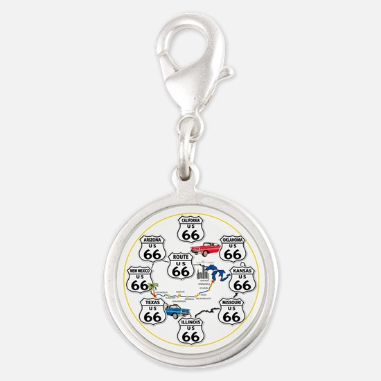 U.S. ROUTE 66 - All Routes Silver Round Charm