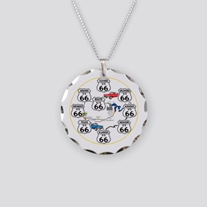 U.S. ROUTE 66 - All Routes Necklace Circle Charm