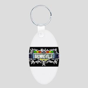 Brownsville Brooklyn NYC (Black) Aluminum Oval Key