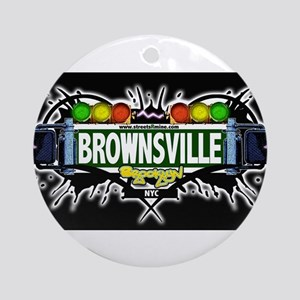 Brownsville Brooklyn NYC (Black) Ornament (Round)