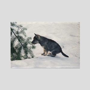 """Wolf Dog Cub"" Rectangle Magnet"