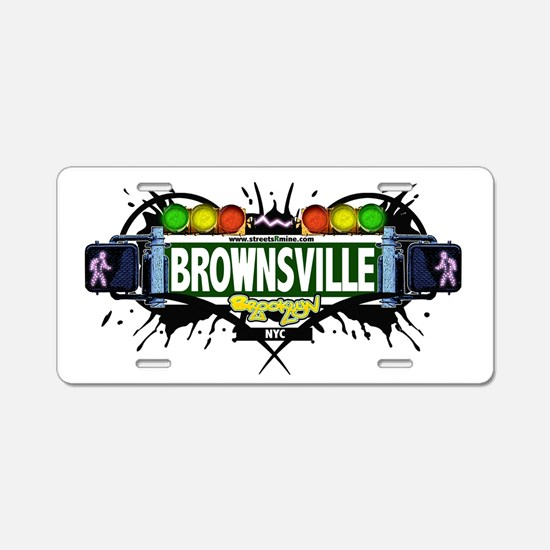 Brownsville (White) Aluminum License Plate