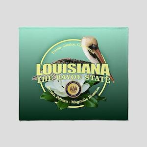 Louisiana State Bird & Flower Throw Blanket