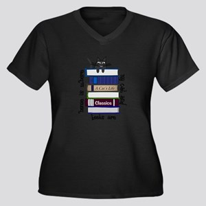 Home is where cat and books are Plus Size T-Shirt
