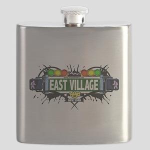East Village Manhattan NYC (White) Flask