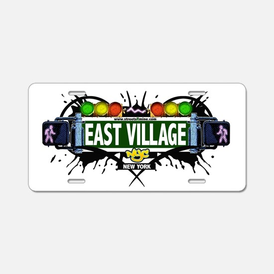 East Village Manhattan NYC (White) Aluminum Licens