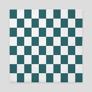 Slate blue checkerboard Queen Duvet