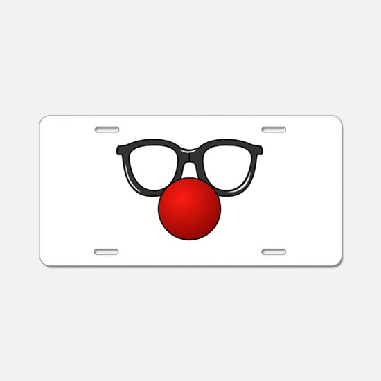 Funny Glasses with Clown Nose Aluminum License Pla