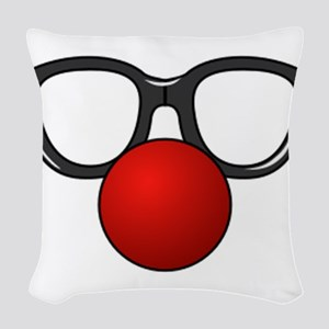 Funny Glasses with Clown Nose Woven Throw Pillow