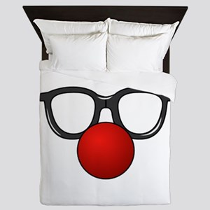 Funny Glasses with Clown Nose Queen Duvet