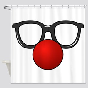 Funny Glasses with Clown Nose Shower Curtain