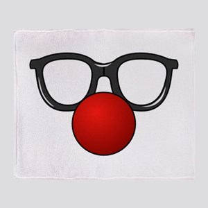 Funny Glasses with Clown Nose Throw Blanket