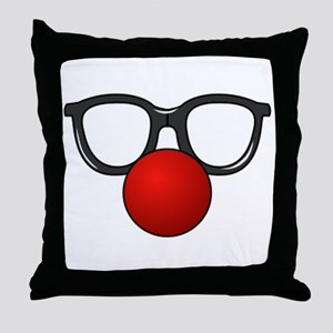 Funny Glasses with Clown Nose Throw Pillow