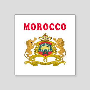 "Morocco Coat Of Arms Designs Square Sticker 3"" x 3"