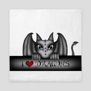 i love dragons Queen Duvet