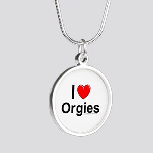 Orgies Silver Round Necklace