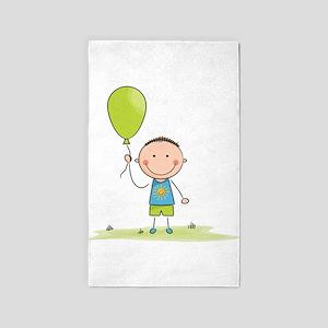 Balloon boy stick figure 3'x5' Area Rug