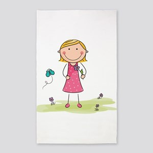 girl with flower 3'x5' Area Rug
