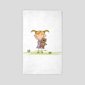 Girl holding Teddybear 3'x5' Area Rug