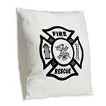Fire Rescue Burlap Throw Pillow