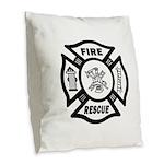 Fire Rescue Burlap Throw Pillow