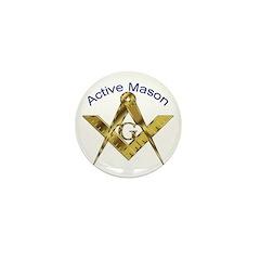 Masonic Active Mason Mini Button