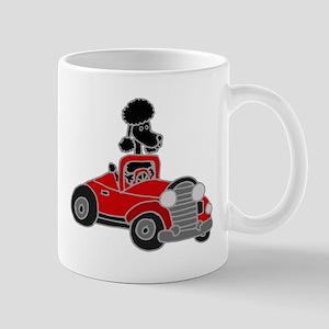 Black Poodle Driving Red Convertible Mug