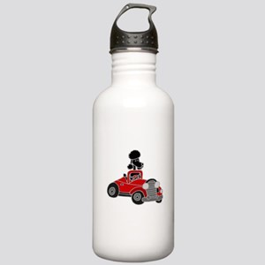 Black Poodle Driving Red Convertible Water Bottle