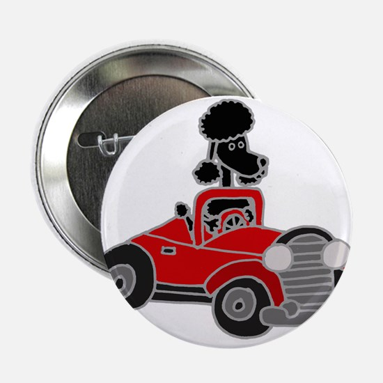 """Black Poodle Driving Red Convertible 2.25"""" Button"""
