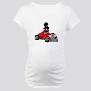 Black Poodle Driving Red Convertible Maternity T-S