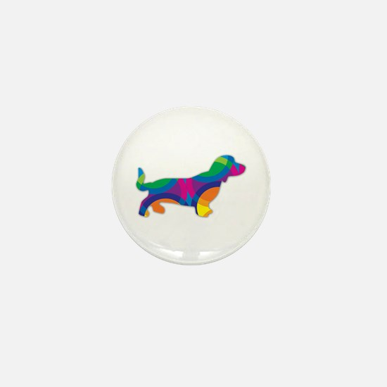 Cute Long haired dachshund Mini Button