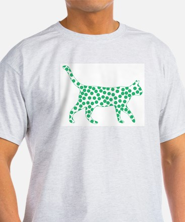 Kelly Green Polka Dot Cat T-Shirt