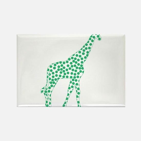 Kelly Green Polka Dot Giraffe Rectangle Magnet