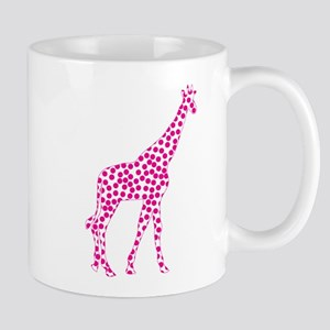 Bright Pink Polka Dot Giraffe Mug