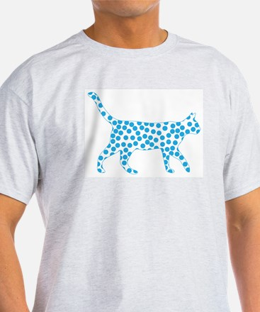 Bright Blue Polka Dot Cat T-Shirt